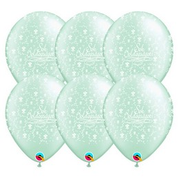 11 inch-es Sok Boldogságot Pearl Mint Green Lufi Esküvőre (25 db/csomag)