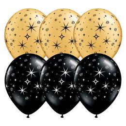 11 inch-es Sparkles & Swirls Black/Gold Szilveszteri Lufi (50 db/csomag)