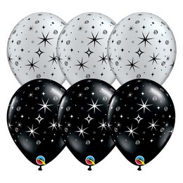 11 inch-es Sparkles & Swirls - Csillag Mintás Fekete és Ezüst Lufi (50 db/csomag)