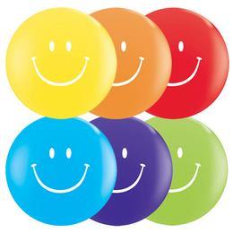 11 inch-es Smile Face Top print Asst. Lufi (25 db/csomag)
