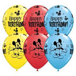 11 inch-es Mickey Mouse Birthday Spec. Asst. Szülinapi Lufi (25 db/csomag)