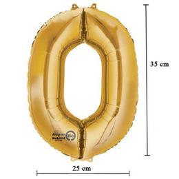 16 inch-es 0 - Arany Számos Minishape Fólia Lufi
