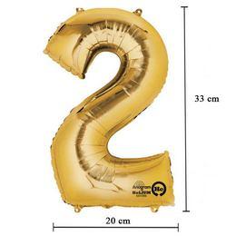 16 inch-es 2 - Arany Számos Minishape Fólia Lufi