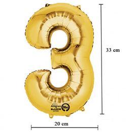 16 inch-es 3 - Arany Számos Minishape Fólia Lufi