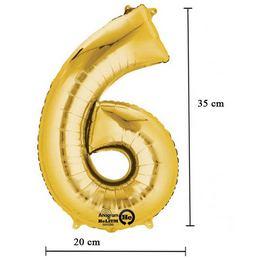 16 inch-es 6 - Arany Számos Minishape Fólia Lufi