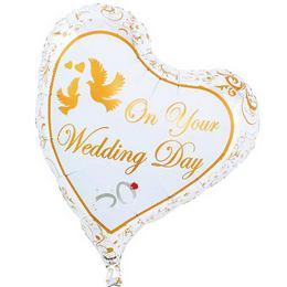 Ibrex 14 inch-es Wedding Doves & Rings Sweet Esküvői Szív Fólia Lufi (5 db/csomag)