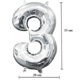 16 inch-es 3 - Ezüst Számos Minishape Fólia Lufi