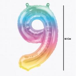 16 inch-es Jelli Ombre - Színes 9-es Alakú Szám Fólia Lufi