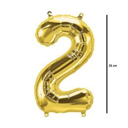 16 inch-es Number 2 - Arany 2-es Alakú Szám Fólia Lufi