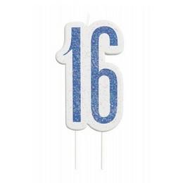 16-os Csillámos Kék Szülinapi Parti Számgyertya