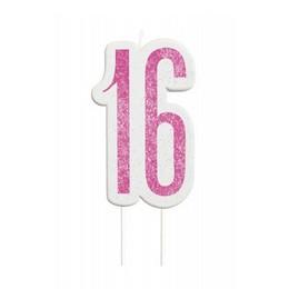 16-os Csillámos Pink Szülinapi Parti Számgyertya