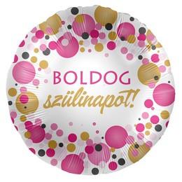17 inch-es Boldog Szülinapot! Rózsaszín Pasztell Konfettis Fólia Lufi