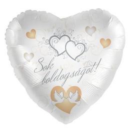 17 inch-es Sok Boldogságot! Galamb Mintás Ezüst Fehér Esküvői Szív Fólia Lufi