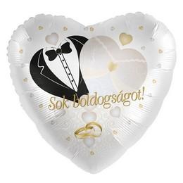 17 inch-es Sok Boldogságot! Gyűrű Mintás Arany Fehér Esküvői Szív Fólia Lufi