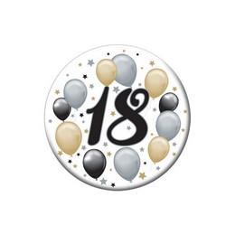 18-as Elegáns Léggömbös Szülinapi Számos Parti Kitűző - 5,5 cm