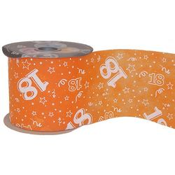 18-as Narancssárga Szülinapi Dekorációs Szalag (12,5 cm x 50 m)