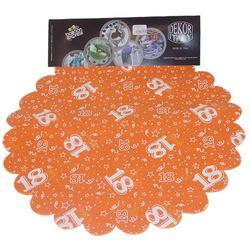 18-as Narancssárga Szülinapi Kerek Dekorációs Textil - 48 cm, 24 db-os