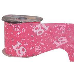 18-as Pink Szülinapi Dekorációs Szalag (12,5 cm x 50 m)