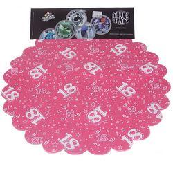 18-as Pink Szülinapi Kerek Dekorációs Textil - 48 cm, 24 db-os