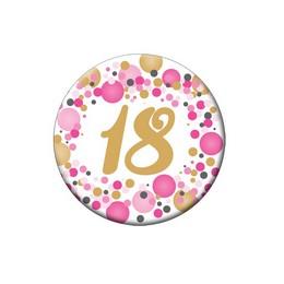 18-as Rózsaszín Pasztell Konfettis Szülinapi Számos Parti Kitűző - 5,5 cm