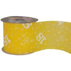 18-as Sárga Szülinapi Dekorációs Szalag (12,5 cm x 50 m)