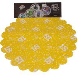 18-as Sárga Szülinapi Kerek Dekorációs Textil - 48 cm, 24 db-os