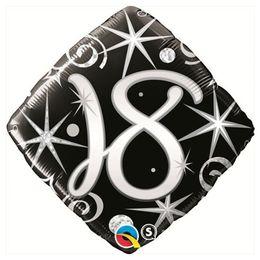 18 inch-es 18-as Elegant Sparkles and Swirls Szülinapi Számos Fólia Lufi