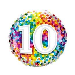 18 inch-es 10 Rainbow Confetti Szülinapi Fólia Lufi