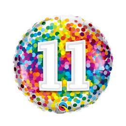 18 inch-es 11 Rainbow Confetti Szülinapi Fólia Lufi