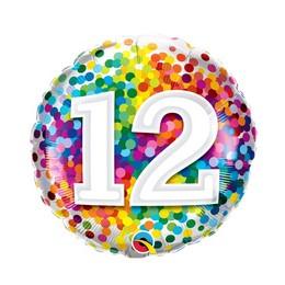 18 inch-es 12 Rainbow Confetti Szülinapi Fólia Lufi