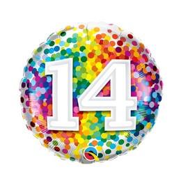 18 inch-es 14 Rainbow Confetti Szülinapi Fólia Lufi
