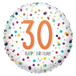18 inch-es 30-as Konfetti Mintás - Confetti Birthday 30 Fólia Lufi