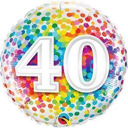 18 inch-es 40 Rainbow Confetti Szülinapi Fólia Lufi
