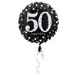 18 inch-es 50-es Happy Birthday Sparkling Születésnapi Fólia Lufi
