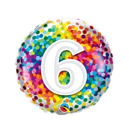 18 inch-es 6 Rainbow Confetti Szülinapi Fólia Lufi