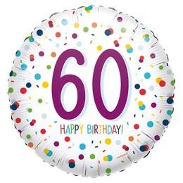 18 inch-es 60-as Konfetti Mintás - Confetti Birthday 60 Fólia Lufi