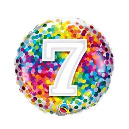 18 inch-es 7 Rainbow Confetti Szülinapi Fólia Lufi
