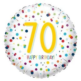18 inch-es 70-es Konfetti Mintás - Confetti Birthday 70 Fólia Lufi