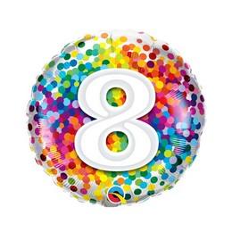 18 inch-es 8 Rainbow Confetti Szülinapi Fólia Lufi