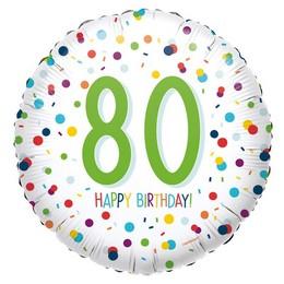 18 inch-es 80-as Konfetti Mintás - Confetti Birthday 80 Fólia Lufi
