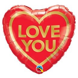 18 inch-es Arany Piros - Love You Golden Heart Szív Fólia Lufi Valentin-napra