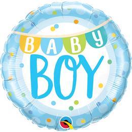 18 inch-es Baby Boy Banner & Dots Fólia Lufi Babaszületésre