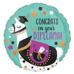 18 inch-es Ballagó Láma - Congrats On Your Dipllama Fólia Lufi Ballagásra