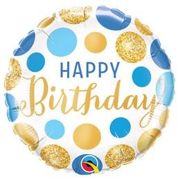 18 inch-es Birthday Blue & Gold Dots Szülinapi Fólia Lufi