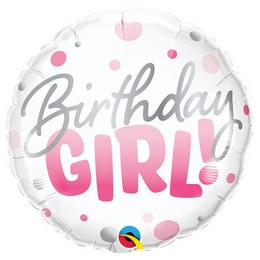 18 inch-es Birthday Girl Pink Dots Szülinapi Fólia Lufi