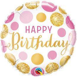 18 inch-es Birthday Pink & Gold Dots Szülinapi Fólia Lufi