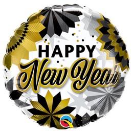 18 inch-es Boldog Új Évet - New Year Black & Gold Fans Fólia Lufi Szilveszterre