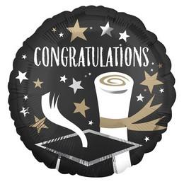 18 inch-es Fekete Arany Ezüst Csillagos - Congratulations Grad Ballagási Fólia Lufi