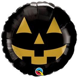 18 inch-es Fekete Arany Tök - Jack Face Black and Gold Halloween Fólia Lufi