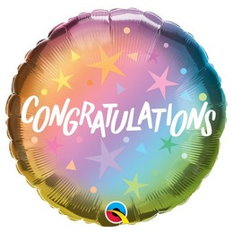 18 inch-es Gratulálok - Congratulations Ombre & Stars Fólia Lufi Ballagásra